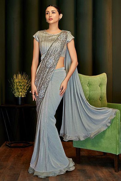 Silver Grey Ready to Wear Ruffle Saree