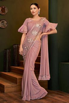 Light Rouge Pink Ready to Wear Ruffle Saree