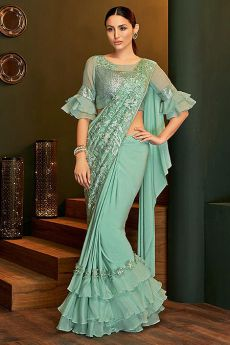 Sea Green Ready to Wear Ruffle Saree