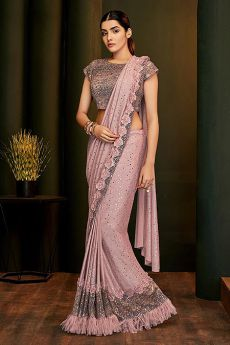 Dusky Pink Ready to Wear Saree with Applique Work