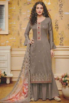 Dark Champagne Zari Embroidered Palazzo Set