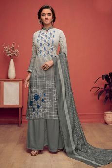 Grey Ombre Embroidered Palazzo Set