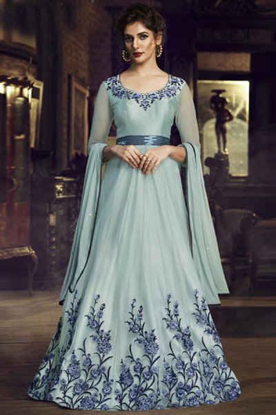 Pastel Blue Silk Gown with Embroidery