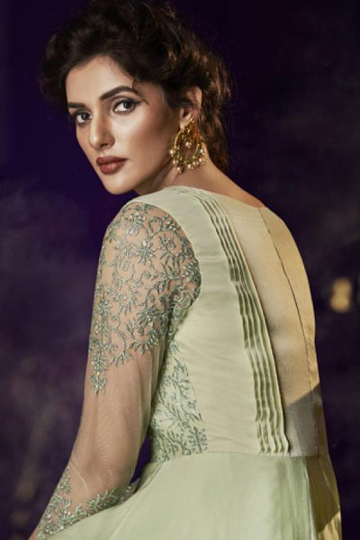 Ready to Wear Pastel Green Silk Gown with Embroidery