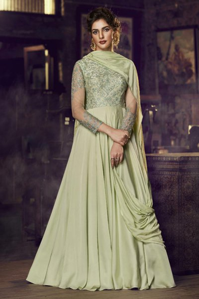 Pastel Green Silk Gown with Embroidery