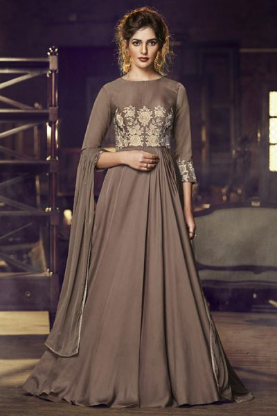 Chocolate Brown Silk Gown with Embroidery