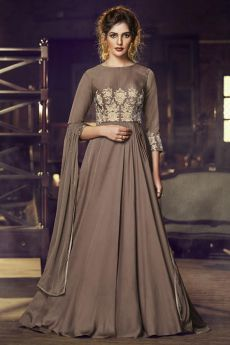 Ready to Wear Chocolate Brown Silk Gown with Embroidery
