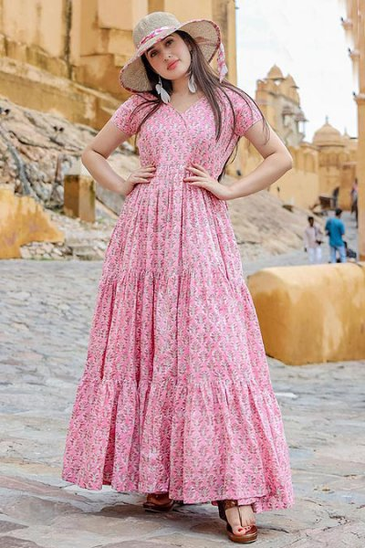 Baby Pink Summer Indian Dress
