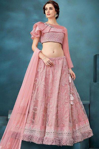 Pastel Pink Lehenga Choli Set with Embellishment