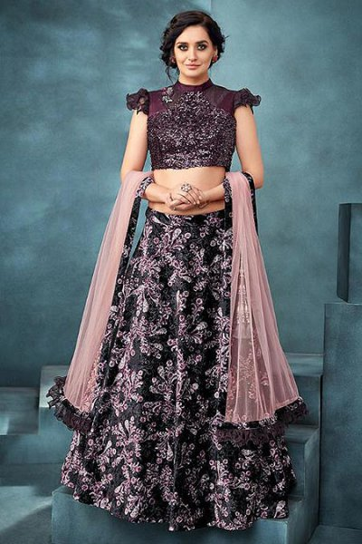 Velvet Lehenga Choli Set with Heavy Sequin Work