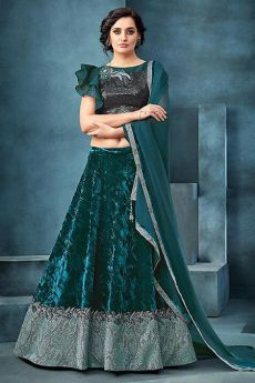 Dark Green Lehenga Choli Set in Velvet