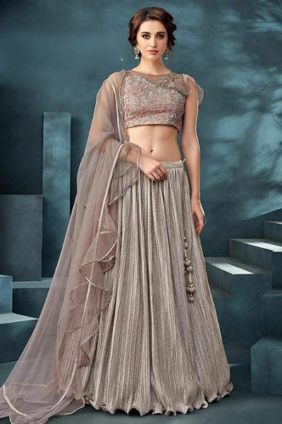 Designer Taupe Embroidered Silk Lehenga Choli Set
