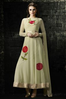 Ready to Wear Georgette Anarkali Suit in Light Green Color