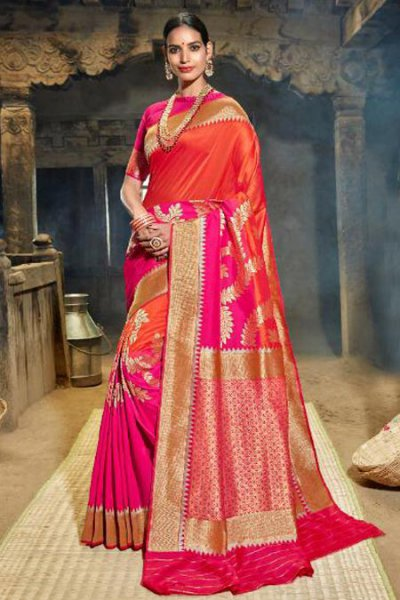 Pink and Orange Banarasi Silk Saree