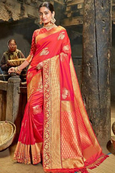 Charming Red Banarasi Silk Saree