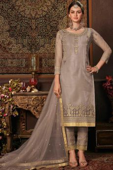 Trending Taupe Suit with Embellishment