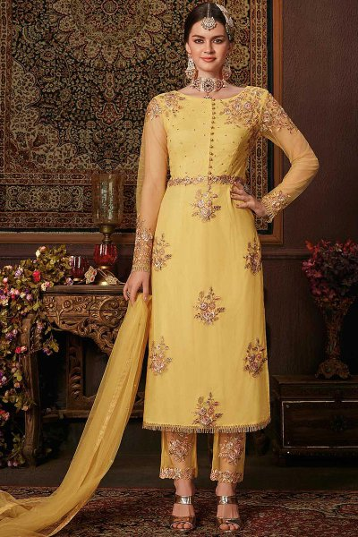 Bright Yellow Suit with Embellishment