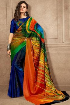 Beautiful Peacock feather Printed Saree in Satin