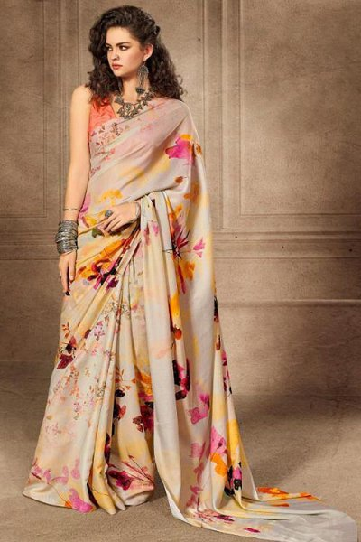 Floral Printed Saree in Satin