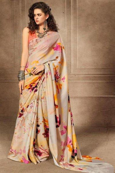 Floral Printed Saree in Satin