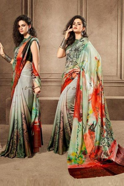 Sage Green Printed Saree in Satin