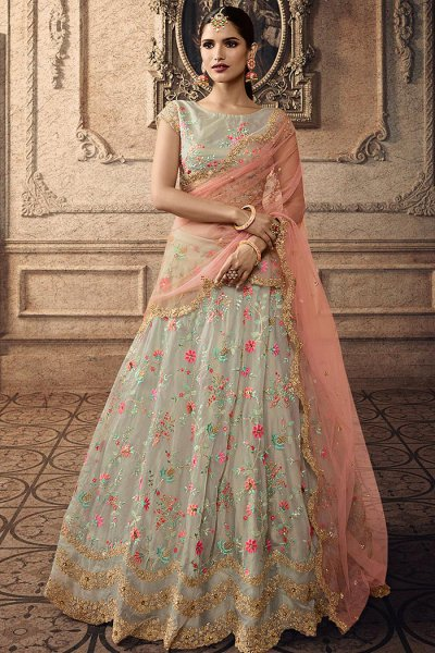 Pastel Green Lehenga Choli with Heavy Embroidery