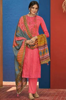 Coral Cotton Straight Kurta Set