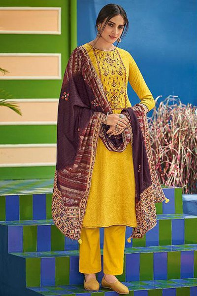 Yellow Cotton Straight Kurta Pant Set