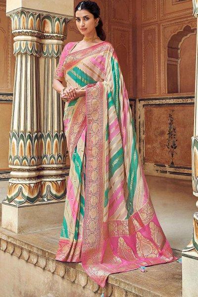 Muticoloured Banarasi Silk saree