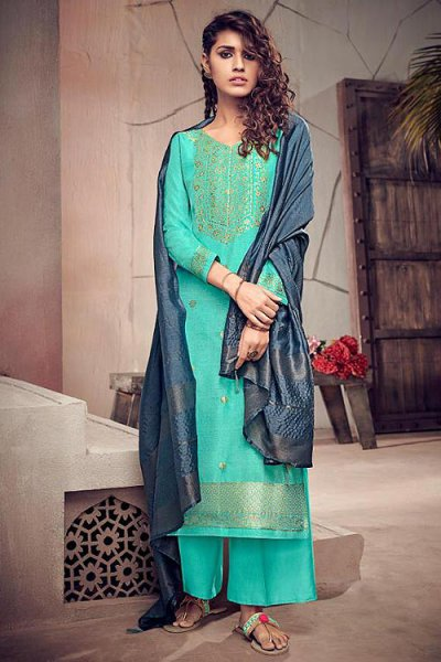 Teal Silk Suit in Jacquard Weave