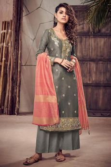 Orange and Grey Silk Suit in Jacquard Weave