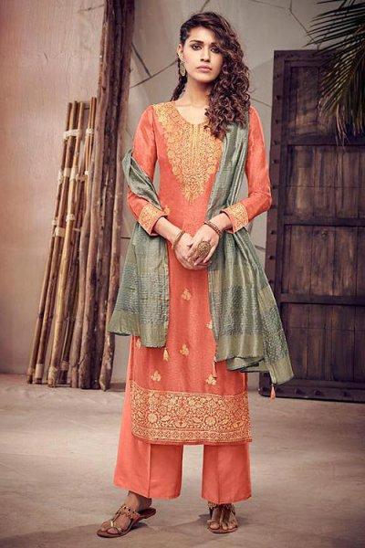 Orange Silk Suit in Jacquard Weave
