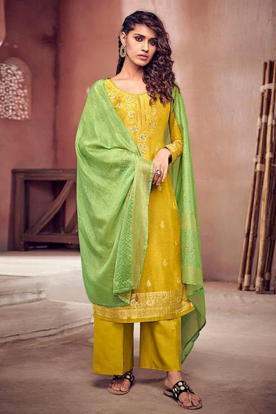 Bright Yellow Silk Suit in Jacquard Weave