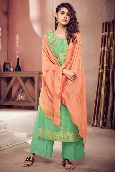 Green Silk Suit in Jacquard Weave