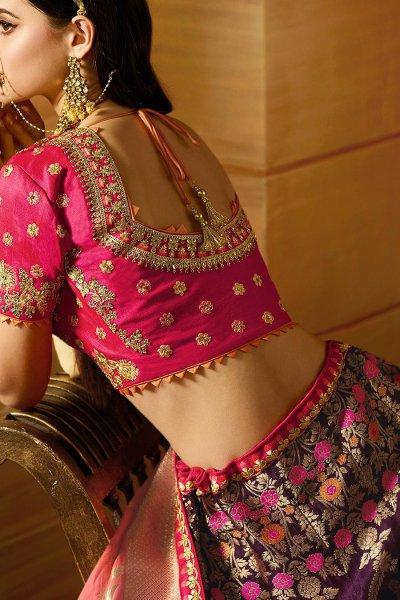 Purple Wedding/Party Wear Lehenga In Banarasi Silk