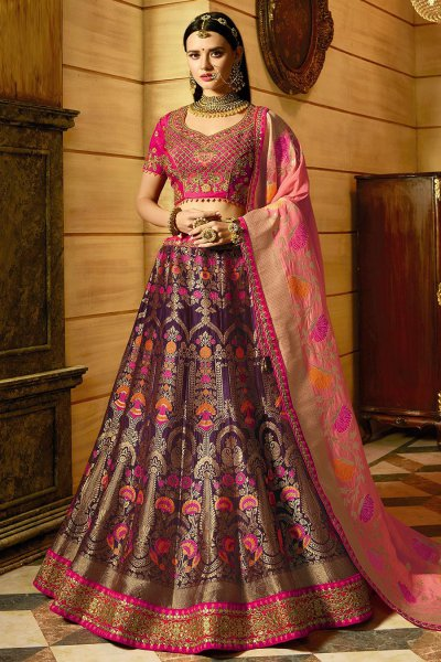Purple Wedding/Party Wear Lehenga In Banarasi Silk