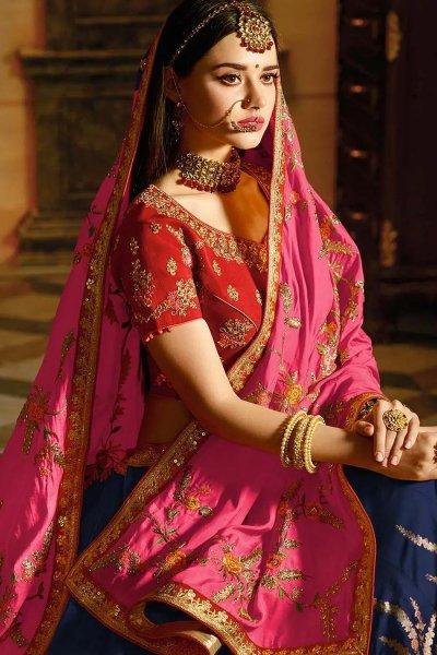 Red Wedding/Party Wear Lehenga in Banarasi Silk