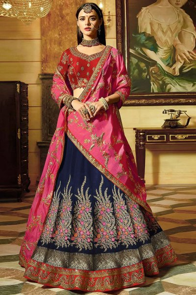 Red Wedding/Party Wear Lehenga in Banarasi Silk