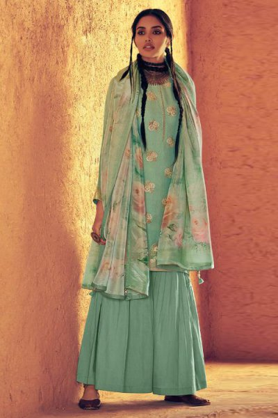 Aqua Sky Green Designer Sharara Suit