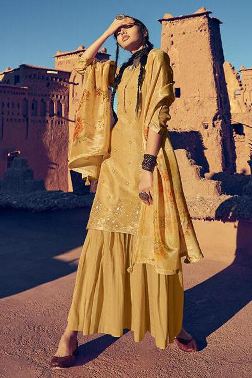 Light Amber Yellow Tissue Silk Indian Designer Sharara Suit