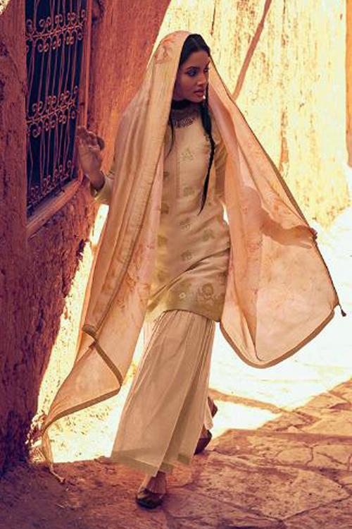 Peachish Beige Designer Sharara Suit