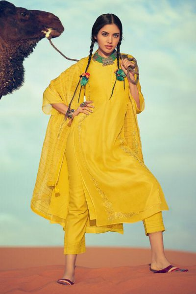 Embroidered Bright Yellow Party Wear Silk Salwar Kameez