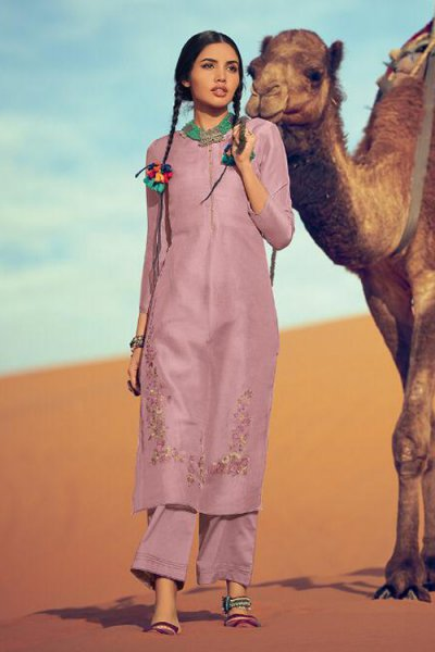 Dusty Pink Silk Salwar Kameez with Beautiful Handwork