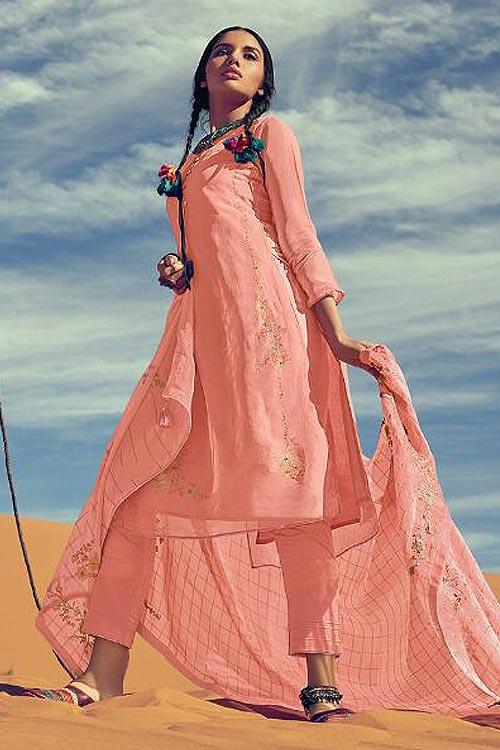 Pastel Coral Designer Silk Salwar Kameez