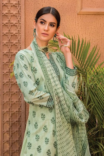 Ready to Wear Pastel Green Summer Palazzo Suit in Glace Cotton