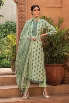 Pastel Green Summer Palazzo Suit in Glace Cotton