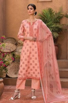 Peach Smart Casual Palazzo Suit in Glace Cotton