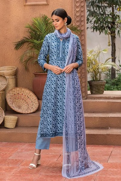 Indigo Smart Casual Palazzo Suit in Glace Cotton