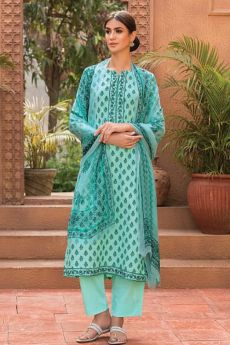 Light Turquoise Blue Glace Cotton Palazzo Suit