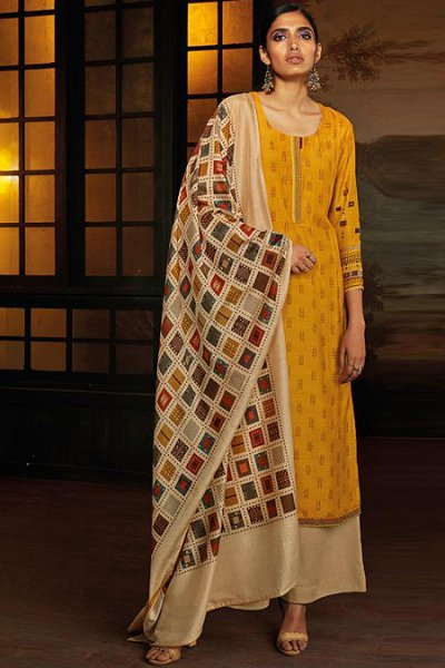 Mustard Silk Palazzo Set with Hand Embroidery